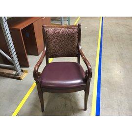 Maroon pattern vinyl padded wood frame side chair (4/26/2021)