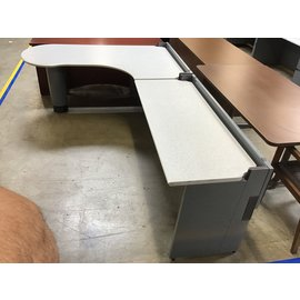 "72 1/2x109x29 1/2"" Gray metal desk unit (5/11/21)"