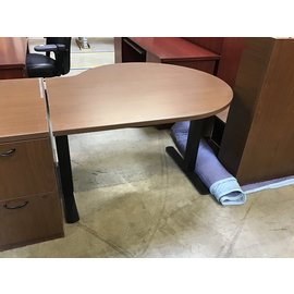 42x48 Brown color wood adjustable height table (5/11/21)