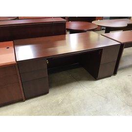 "36x71 1/2x29"" Dk Cherry dbl pedestal wood desk (5/11/21)"