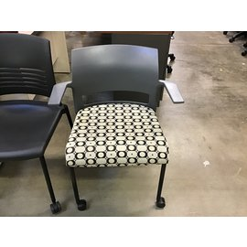 Gray circle/dot pattern side chair on castors (5/12/21)