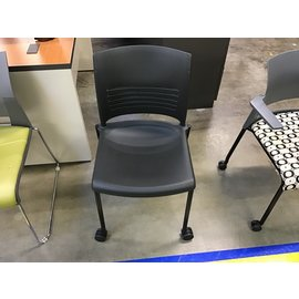 Black plastic side chair on castors (5/12/21)