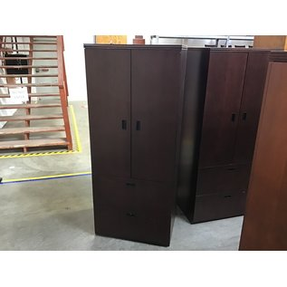 """24x29 1/2x71"""" Dk Cherry wood cabinet w/2 file drawers-few scratches throughout (5/12/21)"""