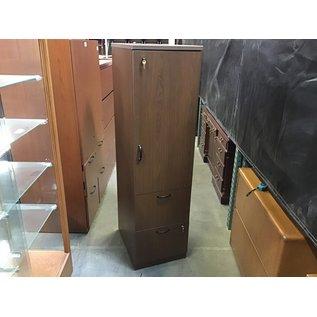 "24x18x66"" Brown wood 1 door. Cabinet w/2 file drawers (5/12/21)"