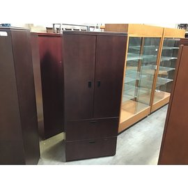 """24x29 1/2x70 1/2"""" Dk cherry wood cabinet w/2 file drawers-some scratches (5/12/21)"""