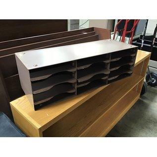 "12x33 1/4x10"" Brown metal adjustable shelf file/paper organizer (5/13/21)"