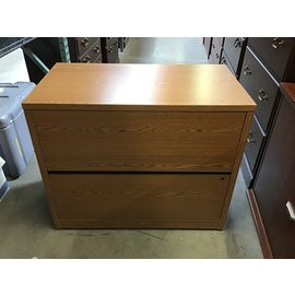 """19 3/4x36x30"""" Wood 2 drawer horizontal file cabinet - a few scratches throughout (5/13/21)"""