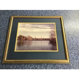 """18 1/2x21"""" Framed ND Lake/Golden Dome/Sac. Heart picture-some chips/scratches on frame (5/14/21)"""