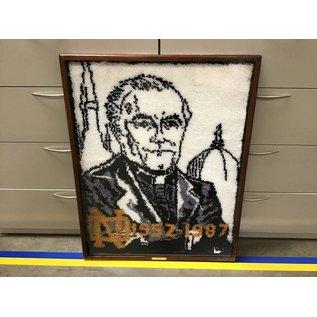 """35 1/2x45 1/2"""" Fr. Hesburgh framed rug - framed needs replaced (5/14/21)"""