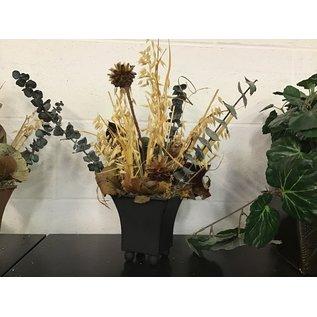 Artificial  arrangement in small black tin planter (5/17/21)