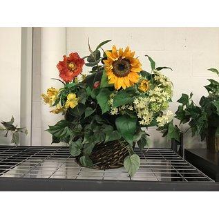 Large artificial flower arrangement in wicker basket w/handle (5/17/21)
