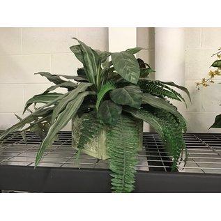 Artificial plant arrangement in square  planter (5/17/21)