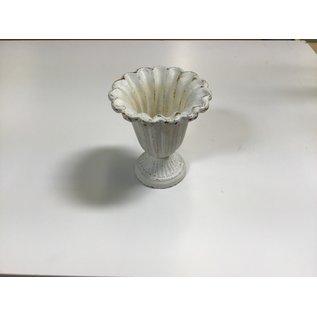 "6 1/2"" White metal vase (5/18/21)"