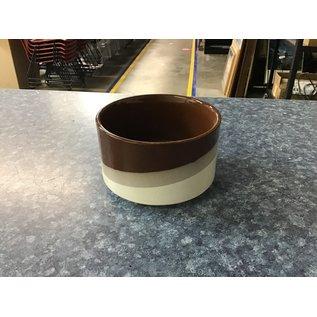 "5"" Brown/tan/beige ceramic planter (5/18/21)"