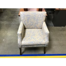 Beige/blue tree pattern vinyl lounge chair (5/18/21)