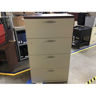 "24x30x52"" Beige  metal w/wood top  4 drawer horizontal file cab. (6/8/21)"