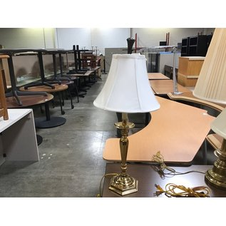 """27"""" Polished brass table lamp w/white shade (6/10/21)"""