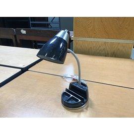 """18"""" Black desk lamp w/dual outlets (6/10/21)"""
