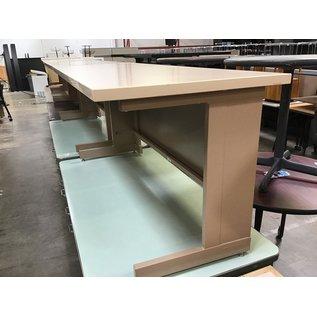 "24x60x27"" Beige metal frame table (6/17/21)"