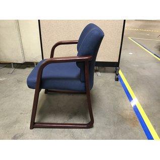 Dk. Blue office side chair wood frame (6/24/21)