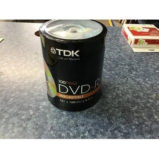 Pkg. 100 TDK DVD-R 4.7 gb. discs (6/30/21)