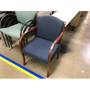 Blue padded wood frame side chair (6/30/21)