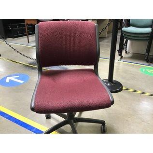 Maroon cloth office chair on castors (7/7/21)