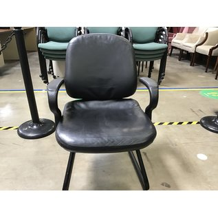 Black leather office chair w/ sled base (7/7/21)