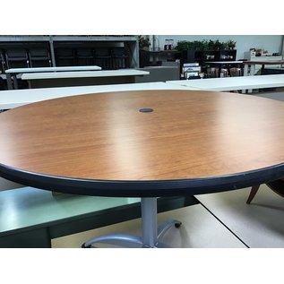 "42"" wood top round table/ metal base (8/3/21)"