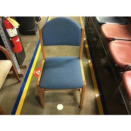 Blue cloth wood framed chair (8/25/21)