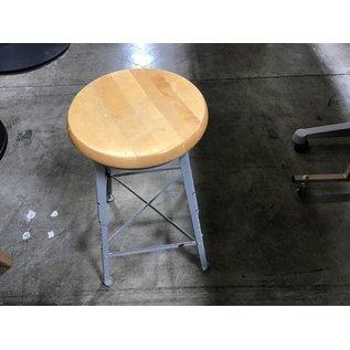 Wood top / metal adj. metal base stool (8/25/21)
