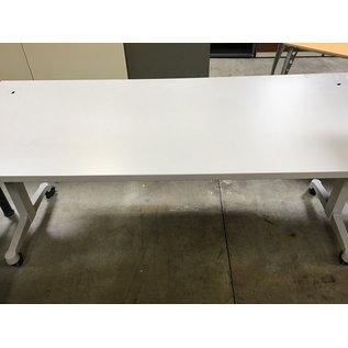 "30x72x29"" gray top w/ metal base work table on castors (8/25/21)"