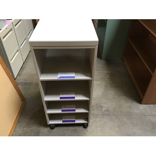 """23x1637"""" metal  4 shelf rack on castors (8/25/21)"""