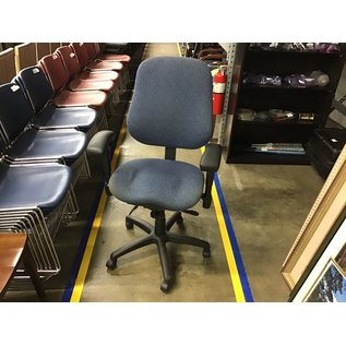 Blue pattern desk chair lightly stained seat (8/31/21)