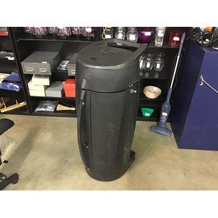 "44"" T x 16""W Black plastic travel case on wheels (8/31/21)"