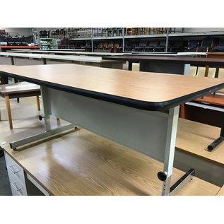 """30x60"""" Wood top/ beige metal adj. height table (8/31/21)"""