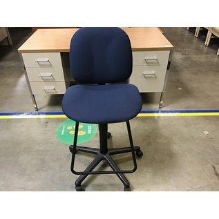 Blue cloth  metal frame adj. hgt. table chair (9/7/21)