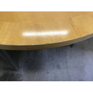 """48"""" Blonde wood top round dining table-chipped edges (09/07/21)"""