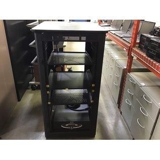 "34x26x50"" Black metal APC server rack (9/7/21)"