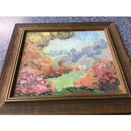 "16x18"" Wood framed flowers & tree painting (9/28/21)"