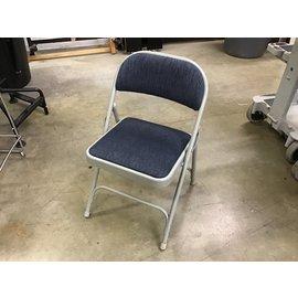 Blue padded metal folding chair (10/12/21)