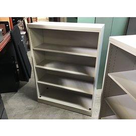 "15x42x57 1/4"" Lt gray metal bookcase slightly sun faded on shelves 10/19/21"