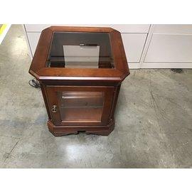 """20x20x23"""" Oak end table w/ glass shelf inside& light (10/20/21)"""