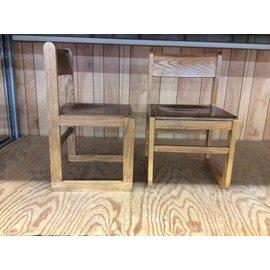 Dk Oak Wood frame student desk chair (5/12/21)