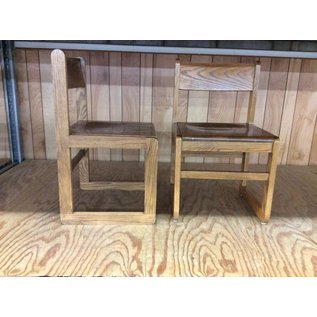 Dk Oak Wood frame student desk chair (10/02/19)