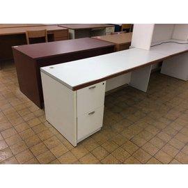 """25x70x28 1/4"""" White Wood L/pedestal desk 10/10/18"""