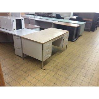 """30x60x29"""" Tan Metal Double Pedestal Desk (10/16/18)"""