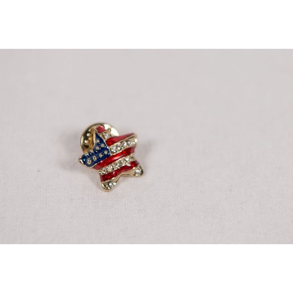Patriotic PUFFED RED, WHITE AND BLUE STAR TAC PIN