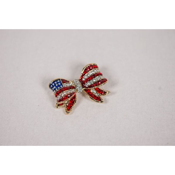Patriotic RED WHITE AND BLUE FLAG BOW BROOCH