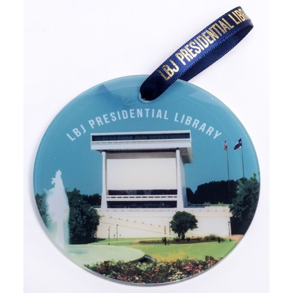 Holiday LBJ LIBRARY GLASS ORNAMENT